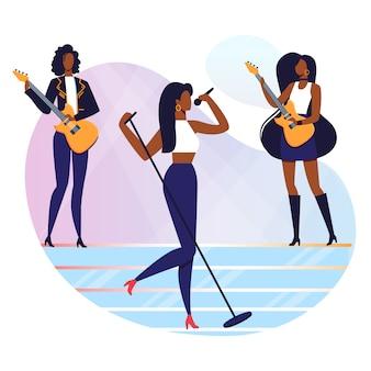 Mujer rock n roll singer ilustración vectorial plana