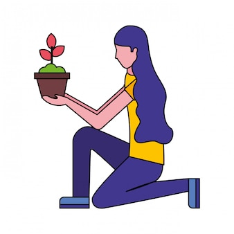 Mujer en la rodilla con planta