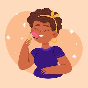 Mujer con rodillo de jade ilustrado