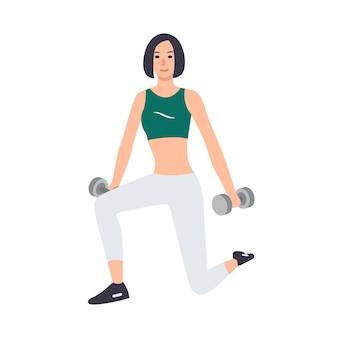 Mujer en ropa deportiva con par de pesas y de pie en posición de estocada aislado. personaje de dibujos animados femenino que realiza ejercicio de entrenamiento de fuerza. ilustración.