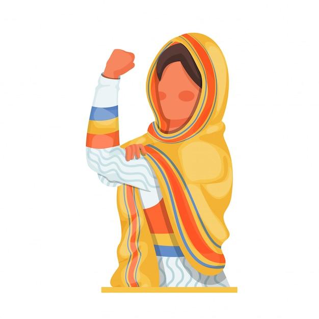 Mujer sin rostro mostrando su brazo fuerte en blanco