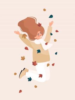 Mujer rubia feliz saltando y sonriendo con hojas