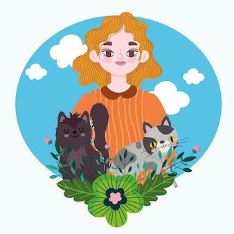 Mujer rubia con lindos gatos y flores decoración ilustración de dibujos animados