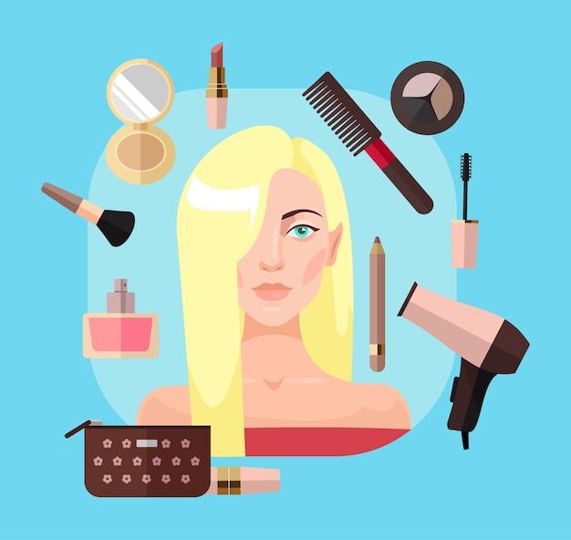 Mujer rubia en salón de belleza. ilustración plana