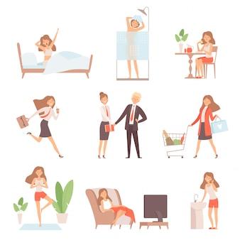 Mujer rutina diaria. toda la vida de la madre de negocios dama desayuno trabajando relajarse tiempo oficina hogar vector caracteres