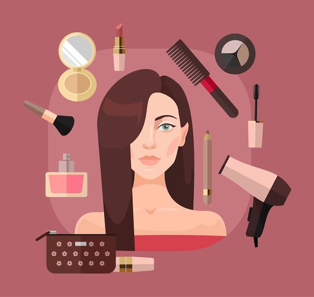 Mujer en salón de belleza. ilustración plana