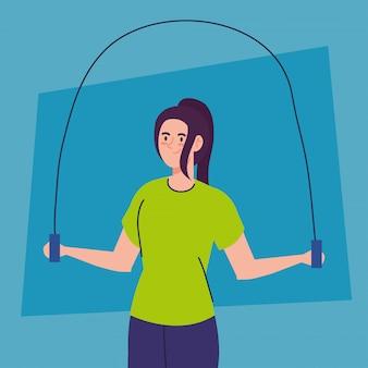 Mujer saltando la cuerda, ejercicio de recreación deportiva