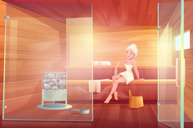 Mujer en sauna tomar vapor spa procedimiento de spa