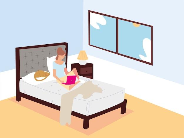 Mujer sentada en la cama con ordenador portátil y trabajando de forma remota en casa ilustración