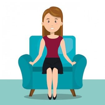 Mujer sentada en el icono de sofá
