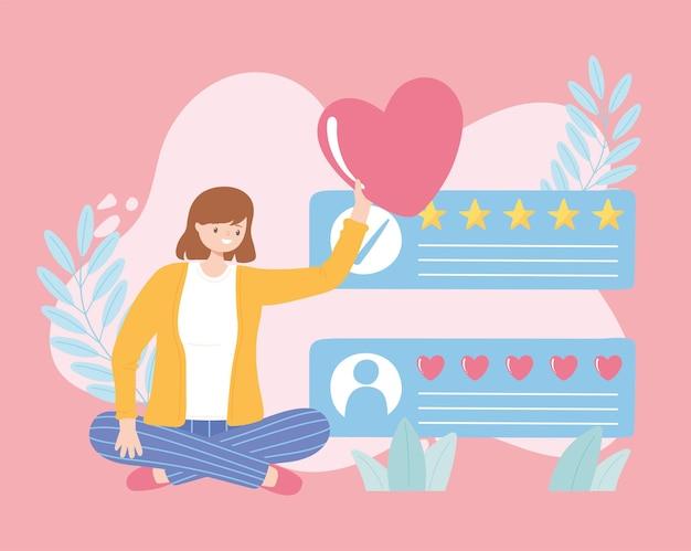 Mujer sentada con ilustración de dibujos animados de retroalimentación de calificación de corazón