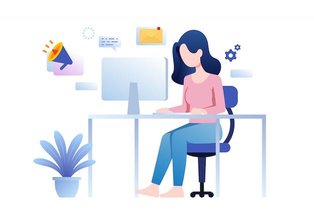 Mujer sentada y marketing en línea trabajando con pc en escritorio desde casa diseño plano.