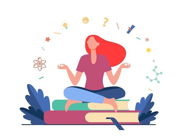 Mujer sentada y meditando sobre la pila de libros. estudiante, estudio, aprendizaje de ilustración vectorial plana. educación y conocimiento