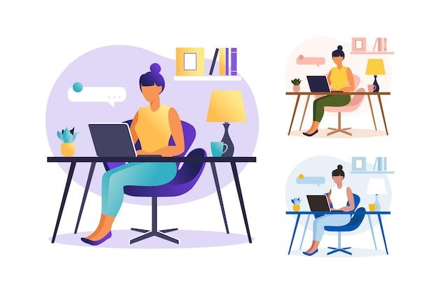 Mujer sentada mesa con ordenador portátil. trabajando en una computadora. freelance, educación en línea o concepto de redes sociales. concepto independiente o de estudio. estilo plano establecer ilustración aislado en blanco.