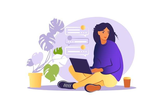 Mujer sentada con portátil. ilustración del concepto para trabajar, estudiar, educación, trabajar desde casa, estilo de vida saludable