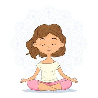 Mujer sentada en posición de yoga y meditando.