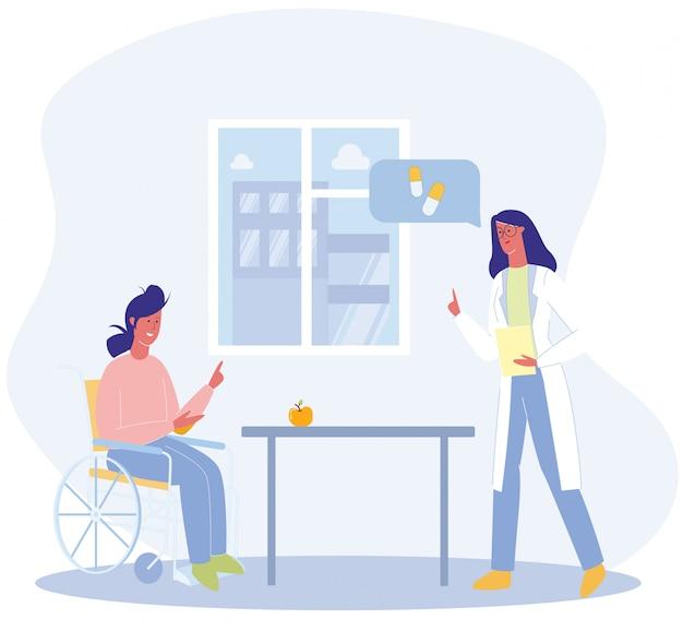 Mujer sentada en silla de ruedas doctor dar recomendación