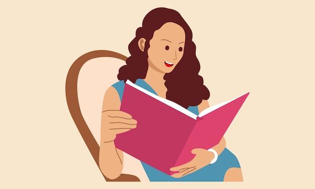 Mujer sentada en el sofá y leer un libro