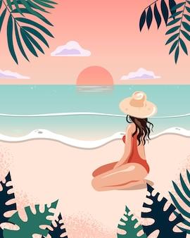 Mujer sexy en la playa viendo la puesta de sol tarjeta de diseño de verano plano