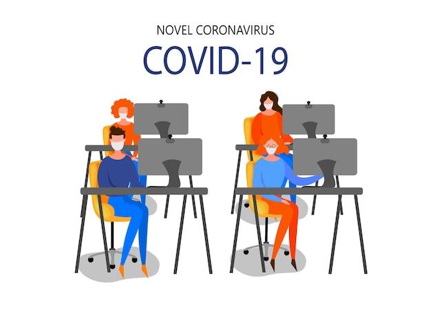 La mujer se sienta frente a una computadora personal y estudia las últimas noticias sobre el brote de coronavirus 2019-ncov aislado en un fondo blanco. concepto de epidemiología pandémica. vector ilustración plana.