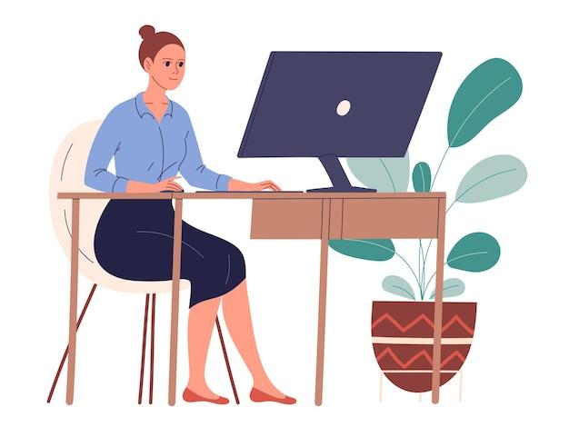 La mujer se sienta en su escritorio en su lugar de trabajo y trabaja.