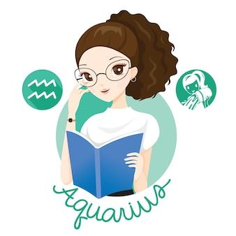 Mujer con signo del zodiaco acuario