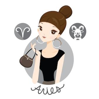 Mujer con signo del zodiaco aries
