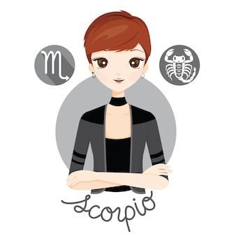 Mujer con signo del zodiaco escorpio