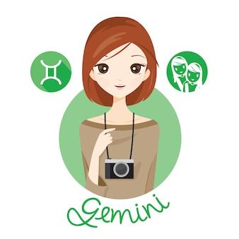 Mujer con signo del zodíaco géminis