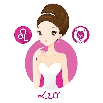 Mujer con signo del zodiaco leo