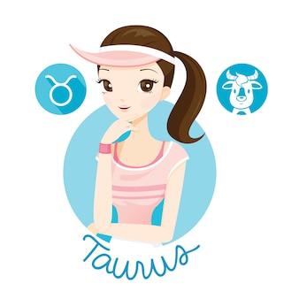 Mujer con signo del zodiaco tauro