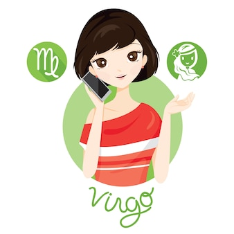 Mujer con signo del zodiaco virgo