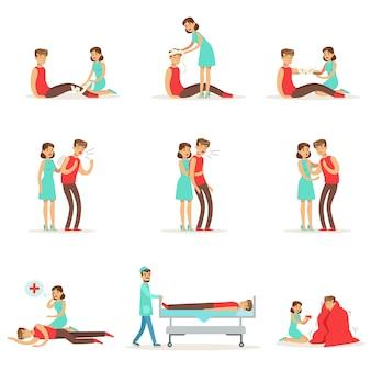 Mujer siguiendo los primeros auxilios procedimientos de tratamiento de emergencia primario y secundario colección de ilustraciones infográficas