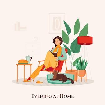 Mujer en sillón pasando la noche con gato y libro en su acogedora casa ilustración plana