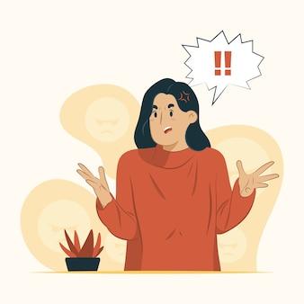 Mujer sintiéndose enojado concepto aislado en blanco