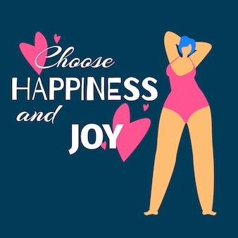 Mujer con sobrepeso en trajes de baño admire de sí misma
