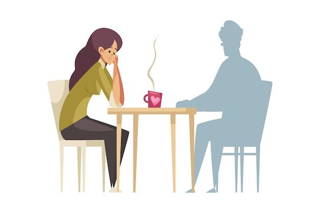 Mujer solitaria frustrada sentada en la mesa frente a dibujos animados de silueta de hombre