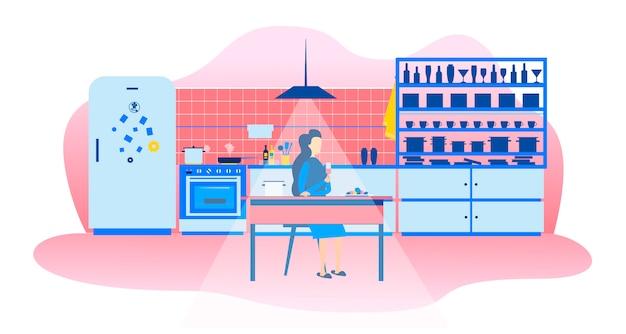 Mujer soltera en cocina noche estilo de vida de dibujos animados