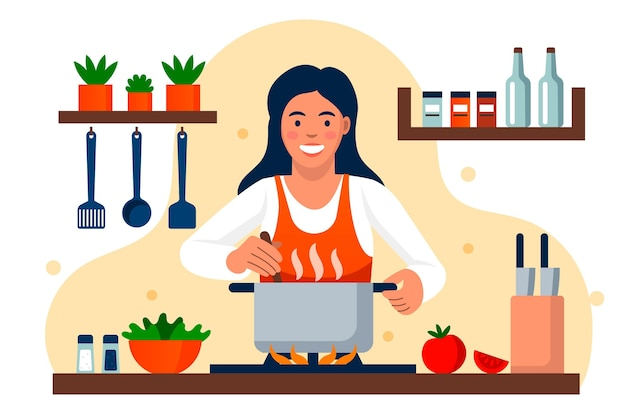 Mujer sonriente cocinando en la cocina
