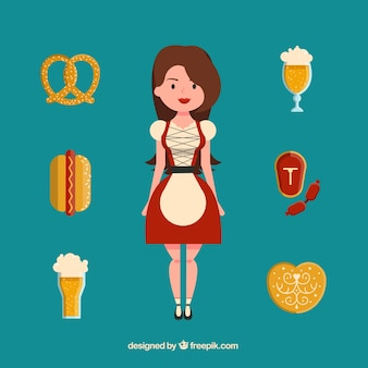 Mujer sonriente con comida alemana típica