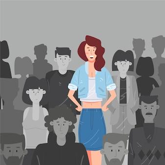 Mujer sonriente en ilustración de multitud