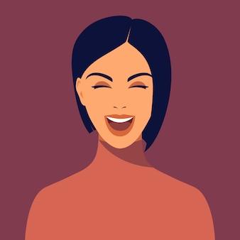 Mujer sonriente joven con corte de pelo corto. retrato de hermosa morena. avatar niña feliz sonríe. avatar para redes sociales.retrato femenino abstracto, rostro completo.ilustración en estilo plano