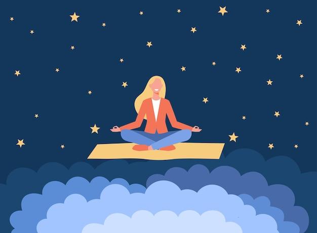 Mujer sonriente meditando sobre estera de yoga. ilustración de dibujos animados