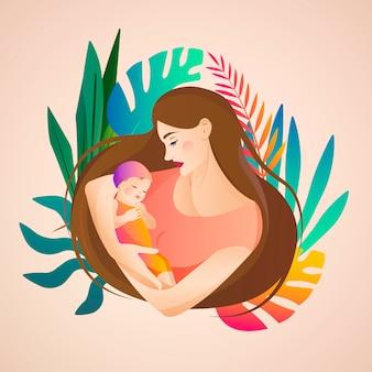 Mujer sosteniendo a un bebé. concepto de maternidad y día de la madre. ilustración para padres.