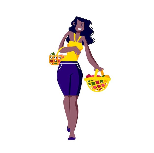Mujer sosteniendo cestas de frutas frescas orgánicas y sabrosas sobre fondo blanco.
