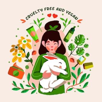 Mujer sosteniendo un conejito junto a productos libres de crueldad