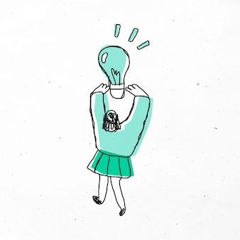 Mujer sosteniendo dibujos animados de bombilla