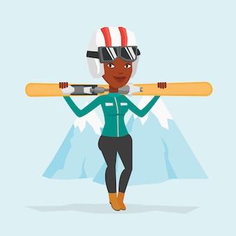 Mujer sosteniendo esquís ilustración vectorial.