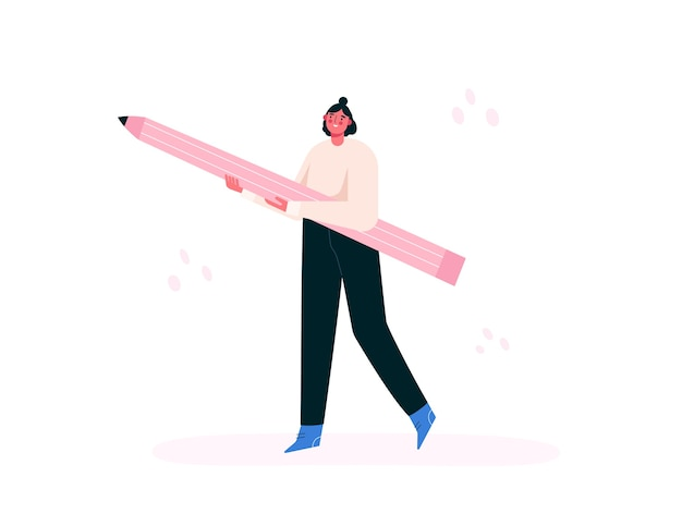Mujer sosteniendo un lápiz grande. chica creativa. artista, pintor, diseñador. ilustración plana.