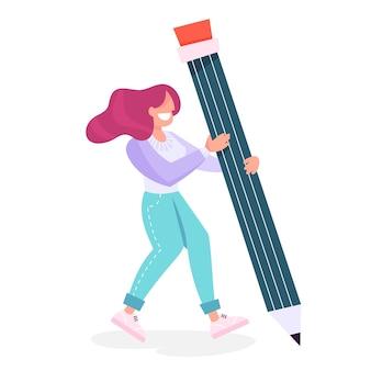 Mujer sosteniendo un lápiz grande. persona femenina